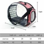 Sac à dos portable transparent pour chat et chien pliable à quatre côtés respirant sac pour chat portable (petite taille 36 x 20 x 22 cm, rose)