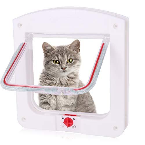 metagio Chatière avec tunnel – Chatière pour chat ou chien – Pour petits chiens et petits animaux (blanc)