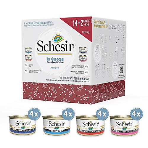 Schesir – Multipack de Noël Contenant 16 Pâtées au Thon pour Chat – 16x85g