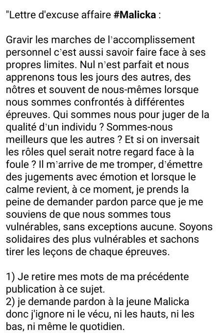 Les Soutiens De Martin Camus Mimb Le Lâchent, Les Excuses Envers Malicka Pleuvent De Partout
