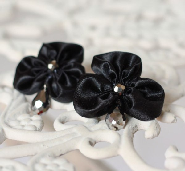 Statement Earrings made from the Three Petal Fabric Flower Ribbon Tutorial
