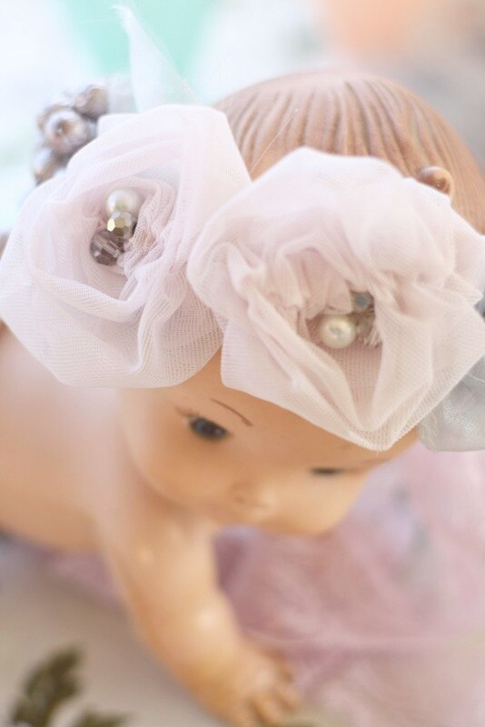 Ruched Rosette Baby Headband on my cute vintage doll