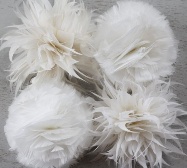 How to make feather flowers for wedding accessories