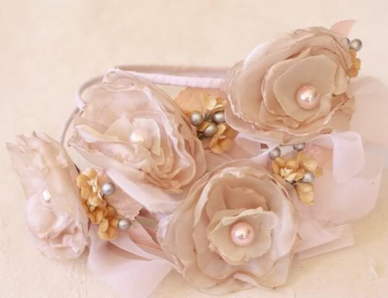 Fluffy Cabbage Rose Fabric Flower Tutorial was used to make this headband fascinator