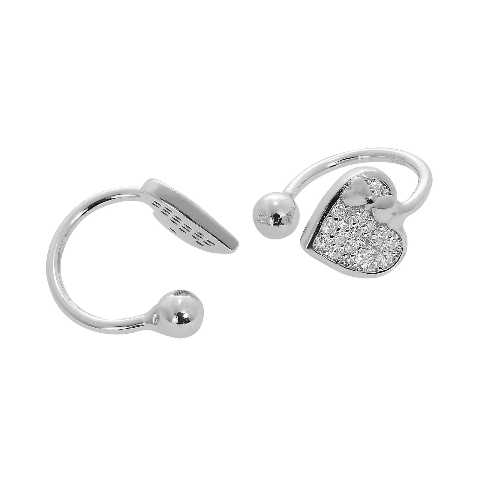 Real 925 Sterling Silver Circle Pull Through Earrings