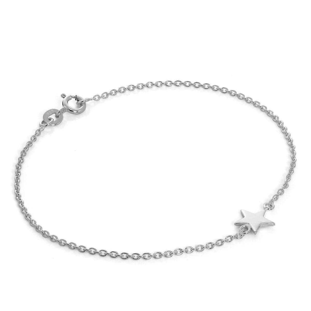 Fine Sterling Silver Star Belcher Chain Bracelet