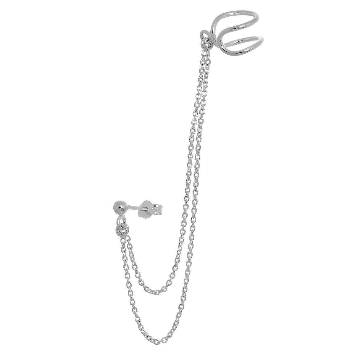 Sterling Silver Ball Stud Amp Ear Cuff With Chain Earrings