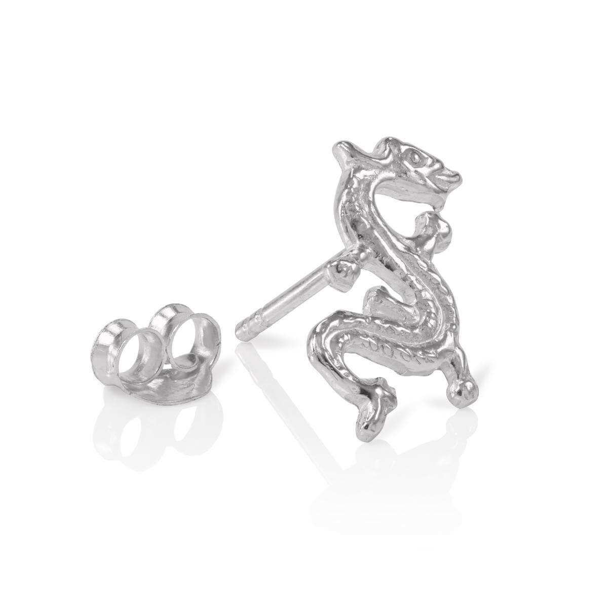 Sterling Silver Mens Dragon Single Ear Stud Earring