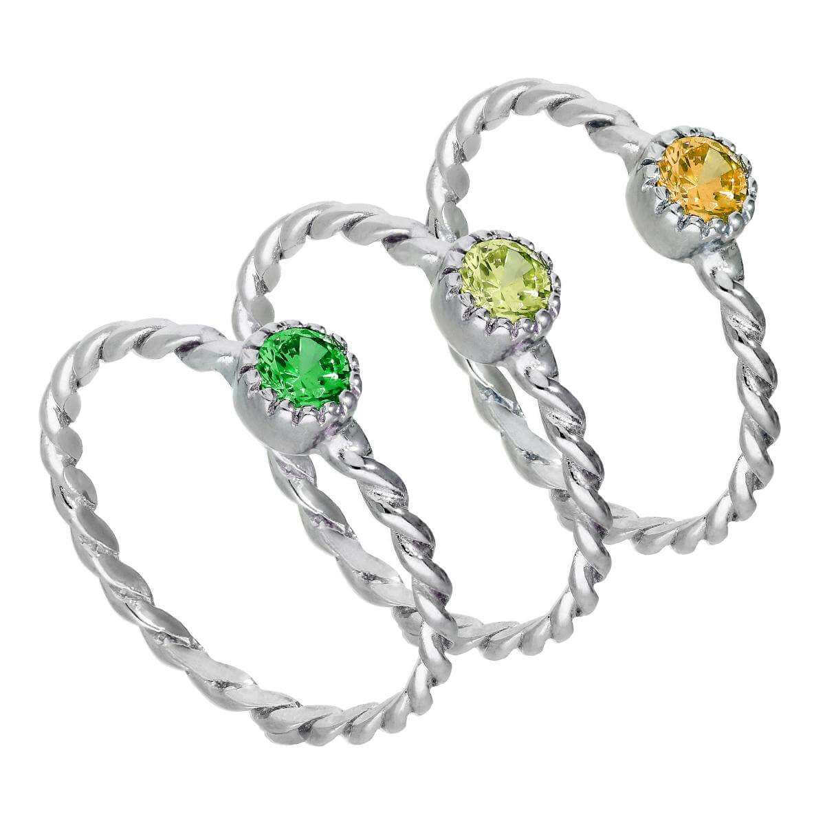 Sterling Silver Green Twisted Cz Stacking Rings Set