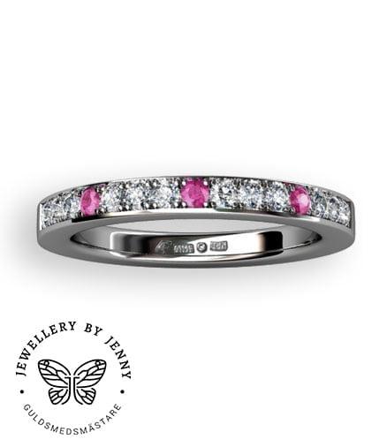 alliansring rosa safirer och diamanter