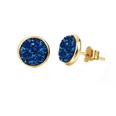 Elara's blue druzy gold studs