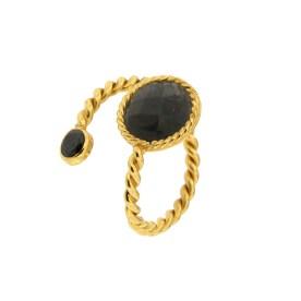 Contrarie Labradorite Gold Ring from Ishwara Jewels 1