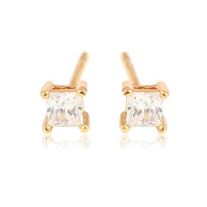 4mm | 18K Gold Plated Copper Pricess Cut Cubic Zirconia Stud Earrings