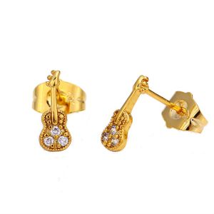 24K Gold Plated Copper Cute Guitar Stud Earrings