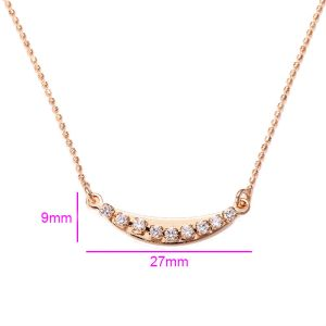 18K Gold Plated Copper Curved Bar Necklace with Cubic Zirconia