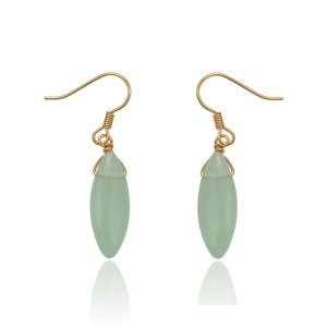 18K Gold Plated Copper Jade Imitation Drop Earrings