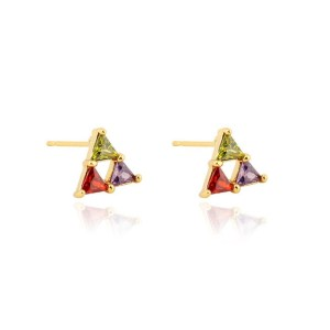 Gold Plated Copper Triangle Cubic Zirconia Stud Earrings