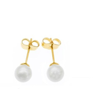 6mm | Yellow Gold Plated Copper Pearl Stud Earrings