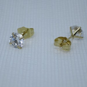 7MM | 14K Gold Plated Copper Round Cubic Zirconia Stud Earrings