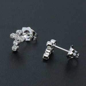 Silver Coloured Copper Cubic Zirconia Cross Stud Earrings