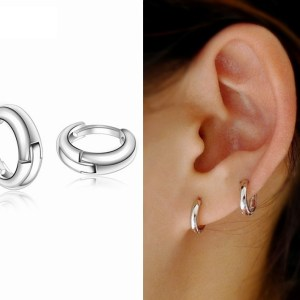 10mm | 925 Sterling Silver Plain Simple Tiny Small Hoop Huggie Earrings Men Women