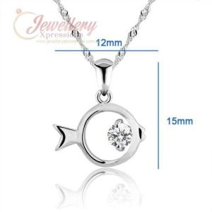 925 Sterling Silver Fish Necklace with Cubic Zirconia