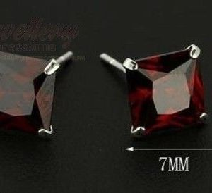 7MM | 925 Sterling Silver Stud Earrings with Red Cubic Zirconia