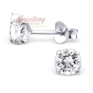 4MM | 925 Sterling Sterling Sparkling Cubic Zirconia Stud Earrings