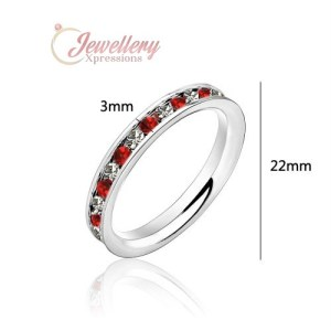 Stainless Steel Eternity Ring with All Around Clear & Red Cubic Zirconia