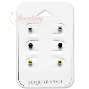 Nickel-free, Lead-free, Surgical Stainless Steel Stud Earrings, Great Piercing Jewelry for Sensitive Skin