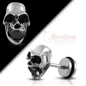 G-1.0mm | One Stainless Steel 2-tone Skull Faux Fake Ear Plug with O-Ring