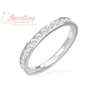 3.5mm | Stainless Steel Channel-Set Eternity Comfort Fit Wedding Band Ring