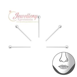 2MM | 5PCS 925 Sterling Silver Ball Nose Studs Nose Ring