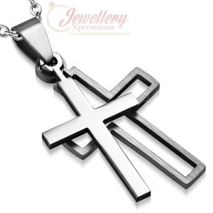 34mm | Stainless Steel 2-Part Cut-Out Latin Cross Pendant (no chain included)