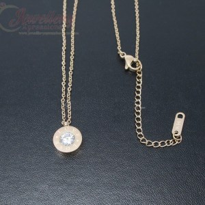 14K Rose Gold Stainless Steel Cubic Zirconia Necklace