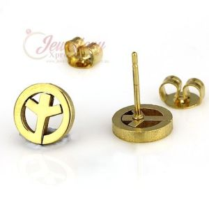 Gold Coloured Stainless Steel Peace Symbol Stud Earrings