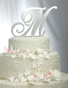 Jewelry by Rhonda   Wedding Jewelry  Bridesmaid s Jewelry  Cake     solid brushed metal monogram wedding cake topper by wmi