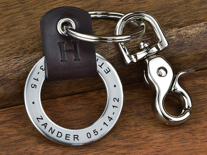 The front of an engraved leather keychain from Maven Metals.