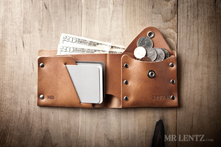 The inside of a leather coin wallet from Mr. Lentz.