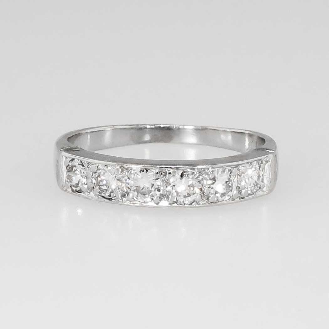 Retro 50ct Tw Platinum Bead Pave Set Diamond Wedding