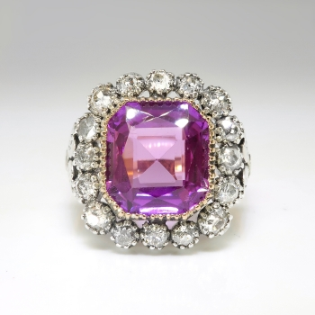 Antique Sapphire Diamond Ring Circa 1910s Russian Lab