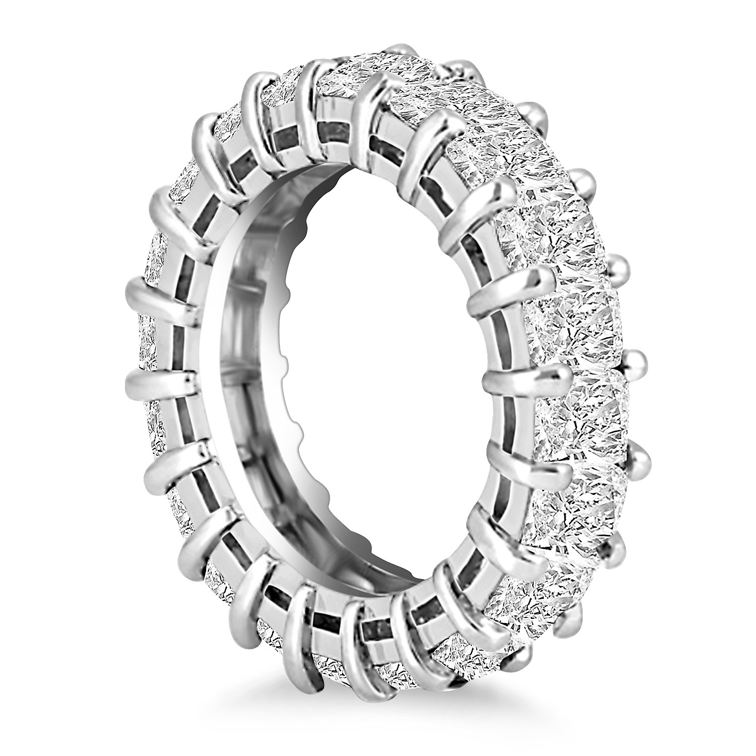 Emerald Cut Diamond Eternity Ring 14k White Gold Classic