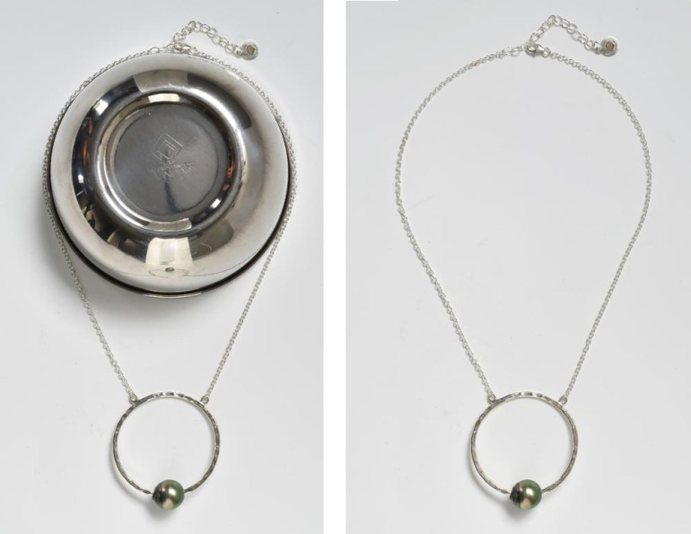 using a bowl as a prop to shape a necklace