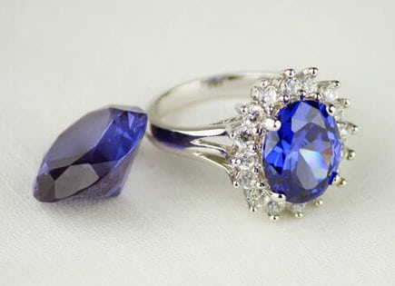 sapphire ring diamonds pave brown one artemer with carat ooak large products engagement