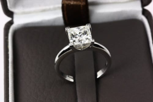 Princess shape engagement ring in a box
