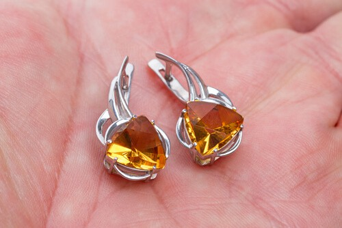 A pair of yellow citrine earrings
