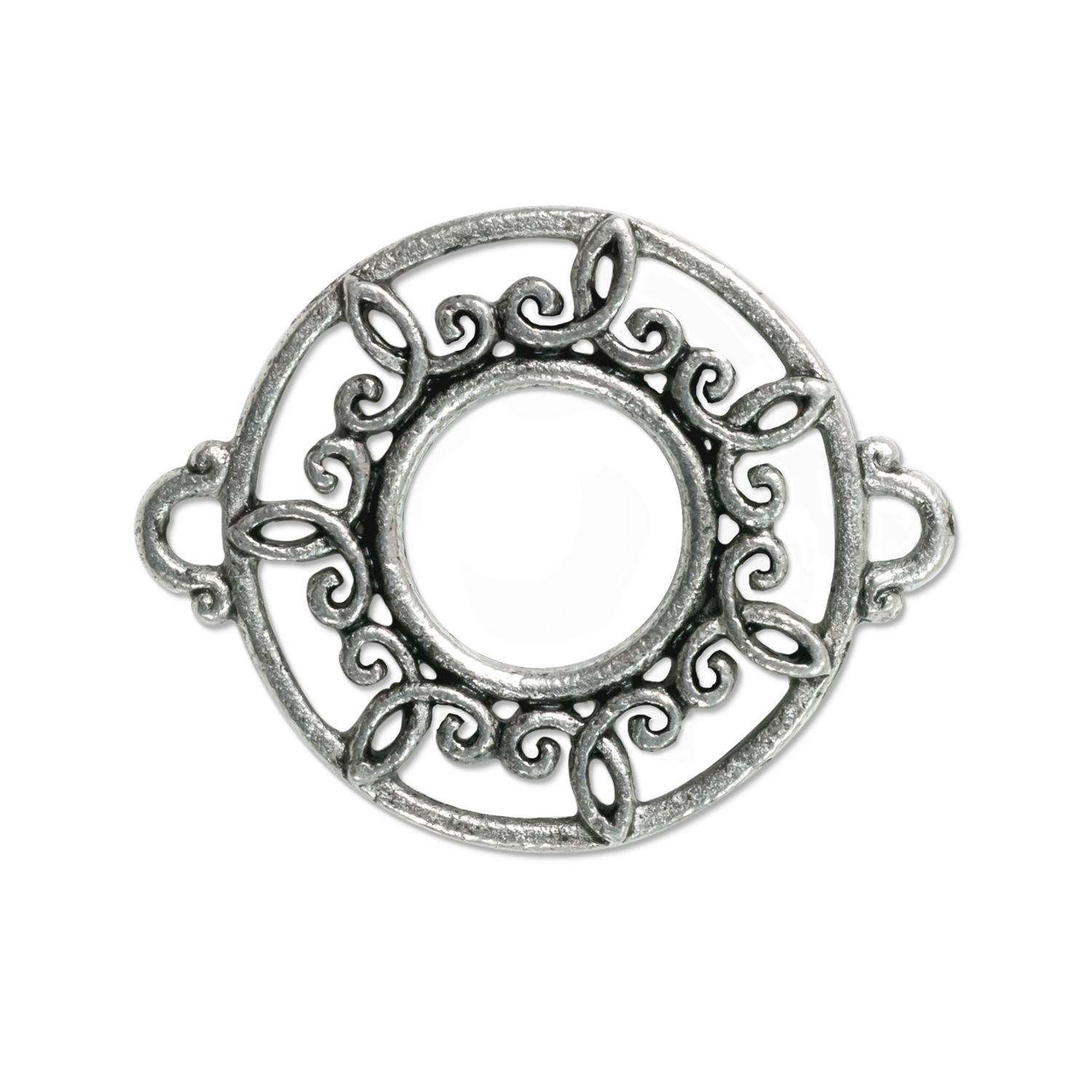 Round Filigree Connector 26x21mm Pewter Antique Silver