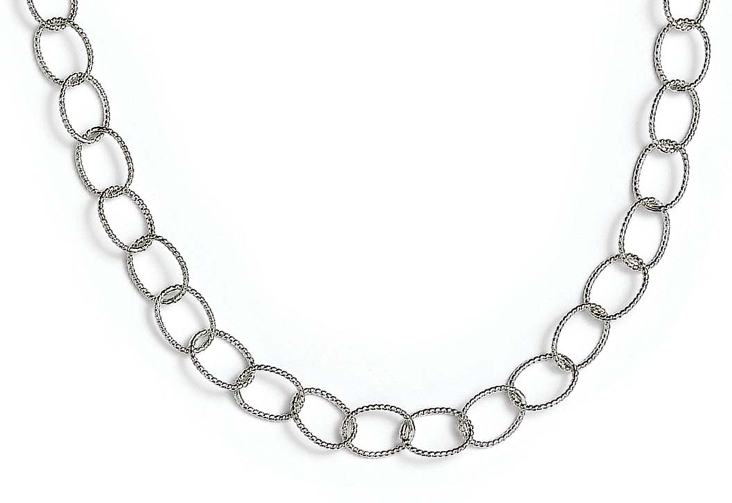 <br /> Sterling Silver Small Twist Oval Links 20 Inch Necklace<br />