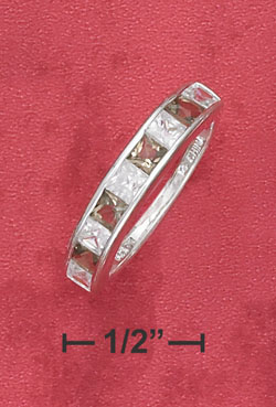 <br /> Sterling Silver Smokey and White 3mm CZ Eternity Band Ring - Size 6.0<br />