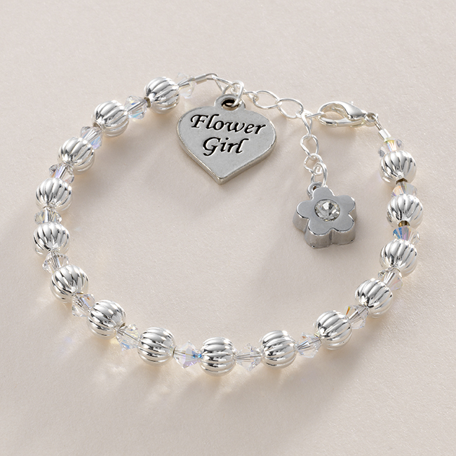 Flower Girl Bracelet With Fluted Beads Jewels 4 Girls